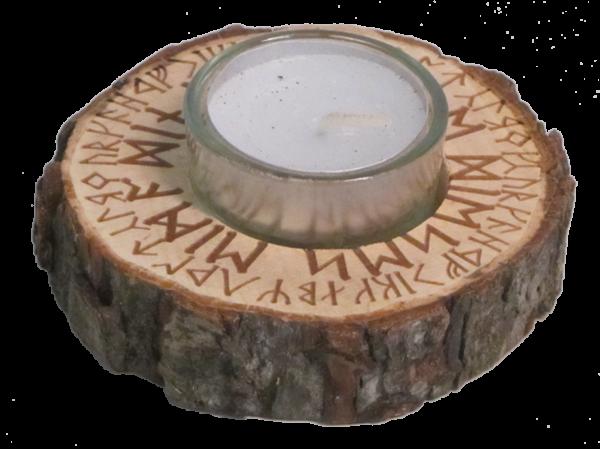 """Holz-Teelichthalter """"Futhark"""""""