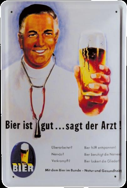 """Blechschild """"Bier ist gut, sagt der Arzt"""""""
