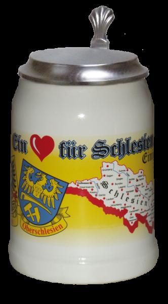 """Porzellankrug """"Ein Herz für Schlesien"""""""