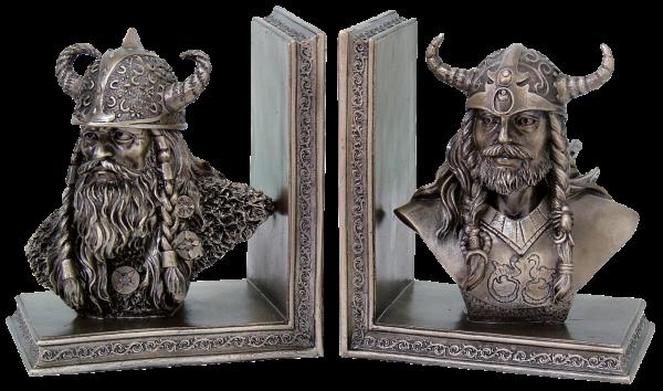 Wikinger-Buchstützen, Paar bronziert