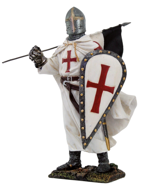 Kreuzritter mit Fahne und Schild
