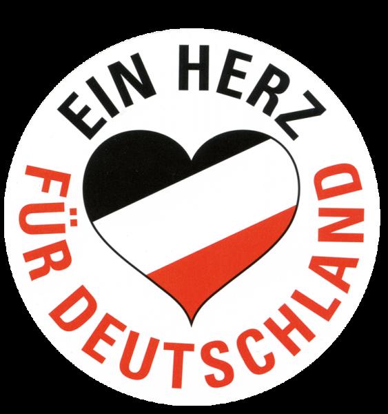 """Aufkleber """"Ein Herz für Deutschland"""", schwarz-weiß-rot"""