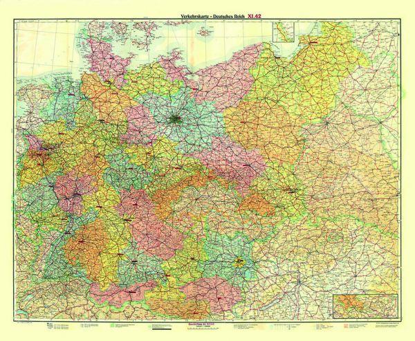 Verkehrskarte Deutsches Reich 1942